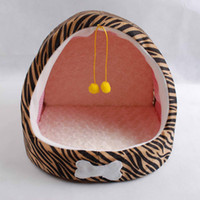 Wholesale CAYJPET Dog Bed Double Balls Leopard Grain Half Arc Pet Nest Capacious Warm Dog Bed