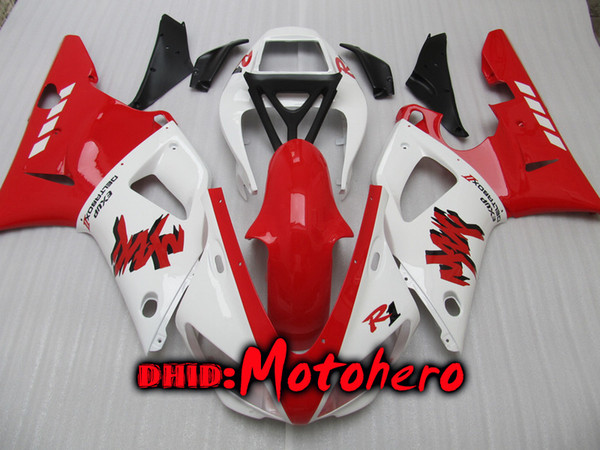 Injection molding bodywork for yzf r1 98 99 yzfr1 yzf r1 98 99 yzf r 1 yzf 1000 98 99 1998 1999 red white ab  fairing kit