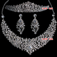 Wholesale Hot Wedding Jewelry Set Diamond Necklaces Earrings Tiaras Set MM007 Bridal Jewelry Accessories
