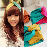 best headwraps - 2012 New Best Quality Cross Nylon Headbands two tone Stretch headwraps headwear Fashion