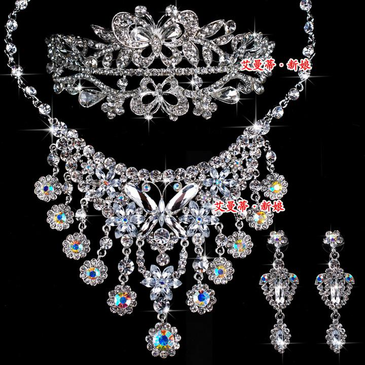 Hot Wedding Jewelry Set Diamond Butterfly Necklaces Earrings Tiaras Set Bridal Jewelry