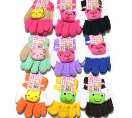 Wholesale Mixed colors of cartoon children s gloves two color plush children s gloves