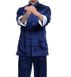 Black Burgundy blue Chinese men's silk kung fu suit pajamas SZ: M L XL 2XL 3XL