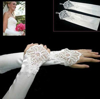100% Polyester Fingerless Embroidery Stock White Fingerless Lace Stretch Satin Bridal Wedding Prom Gowns Dresses Gloves