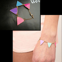 Wholesale vintage charms bracelet colour ceramic glaze fashionable triangle bracelets nice jewelry