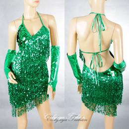 Dame ville à vendre-Bleu Sexy Lady Cocktail Club Wear Party Latin Dance Asymétrique Sequin Fringe City Dress 2051
