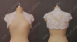 Abrigo chaqueta Modest Alencon Cordón moldeado mangas casquillo de novia de la boda Bolero para Actual Novia Real Imagen