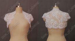 Wholesale Modest Alencon Lace Beaded Cap Sleeves Wedding Bridal Bolero Jacket wrap for Bride Actual Real Image