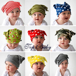 baby cap kids hat new born caps TOP BABY dotted striped pattern headgear 40pcs lot