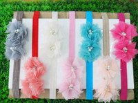 Chemical Fiber baby trial - Trial order cm Headbands Two Pearl With Rhinestone Tulle Flowers On A Thin Headbands for baby