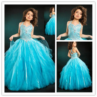 Wholesale DHgate V neck Halter Lovely Girls Formal Gowns Beaded Ball Gown Tulle Blue Flower Girl Dresses