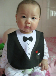 Wholesale BABY FEEDING BIBS EATING TOP ems free KIDS BLACK WHITE TUXEDO SUPERMAN