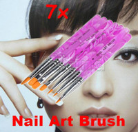Gel Nail Brushes 7 Pcs Plastic New Hot Professional Design Tool Acrylic Nail Art Builder Brush Pusher Pen 7pcs UV Gel