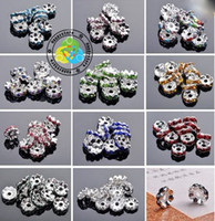 Wholesale mixed color mm mm Silver Plated Jewelry Rondelles Rhinestone Crystal Spacer Beads
