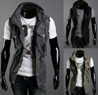 Lapel Neck sleeveless hoodie - hot new monde Mens Jacket Hoodie Sweatshirt Sweats Sleeveless jacket vest size M L XL XXL
