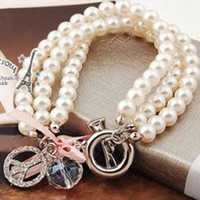 Wholesale Full Drill Peace Symbol Crystal Three Layer Pearl Bracelet E5076