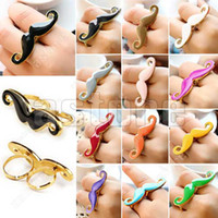 Wholesale 5 Multicolor Vintage Handlebar Mustache Moustache Double Finger Adjustable Ring