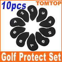Wholesale 10pcs Set Black Golf Clubs club Putter Head Cover HeadCovers golf Protect set for golf lovers H8131