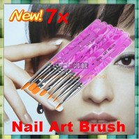 Nail Art Brushes 7 Pcs Plastic Hot Sale! 7 pens 1set Professional Design Tool Acrylic Nail Art Builder Brush Pusher Pen 7pcs UV Gel
