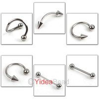 Stainless Steel Labret, Lip Piercing Jewelry  84pcs Stainless Steel body jewelry Tongue Eyebrow Navel Bar Ring Piercing 260546