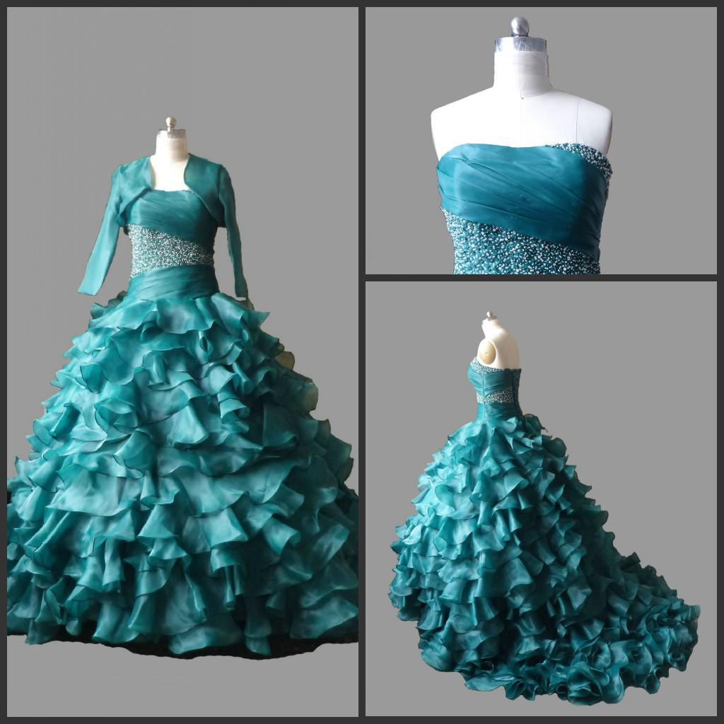 Plus size quinceanera dresses with bolero strapless beaded for Halloween wedding dresses plus size