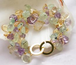 3row 8inch Nature Yellow & Green & Lavender Fluorite Crystal Citrine Amethyst Bracelet New Free Ship