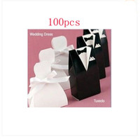 Wholesale On Sale pairs Black Tuxedo amp White Dress Groom bridal Wedding Favours Gift Boxes Candy box