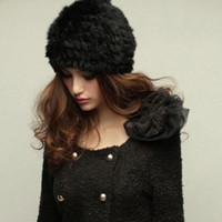 Wholesale Autumn and winter hats men and women of Korean of the long haired rex rabbit fur grass hats