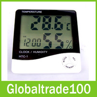 Wholesale Multi function HTC Digital LCD Alarm Clock Temperature Humidity Meter Temp