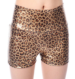 Wholesale 2012 Newest Golden Leopard Twinkle High cut Faux Leather Tight Pants Short Pants Sexy Bootcuts