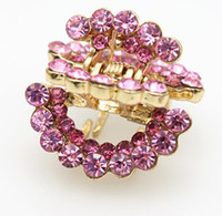 Women's Alloy Clamps 2.6cm Pink Blue Purple Half Moon Diamond Crystal Woman wedding Hair Claws hairpins Girl hair Jewelry