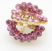 Wholesale 2 cm Pink Blue Purple Half Moon Diamond Crystal Woman wedding Hair Claws hairpins Girl hair Jewelry