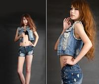 Wholesale New Fashion Cowboy Womens Denim Vest Ladies Chic Jean Waistcoat