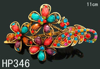 Barrettes & Clips Women's Gift Hot Sale women vintage hair jewelry Zinc alloy rhinestone flowers hair clips Hair accessory Free shipping 12pcs lot Mixed colors HP346