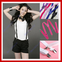 Wholesale 10PCS Y back Unisex Clip on Braces Elastic Suspenders Black