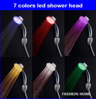 Wholesale Water flow power no battery Colors flashing jump change LED Shower head Retail color box faucet