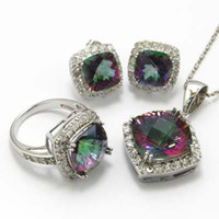 Wholesale mystic rainbow jewelry set wedding jewelry set natural mystic topaz