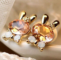 Wholesale Most popular Flash crystal rabbit earrings pairs hot sale new arrival jewelry christmas gift