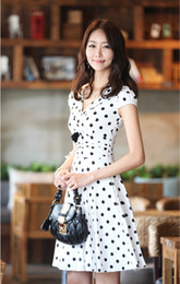 Wholesale Summer Hot Dresses Short Sleeve Elegant Print Dot Dress Black White
