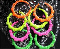 Wholesale Jewelry Fluorescent color super exaggerated bamboo earrings nightclub HIPHOP JAZZ findings pairs l