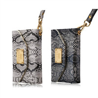 Wholesale Deiking Snake Grain Leather Wallet Case Luxury Pouch Handbag with ID Card Slots for iphone G S