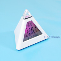 Wholesale New LCD Pyramid Triangle Clock Alarm Multi Color Night