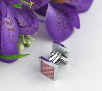 Wholesale 1 Set Pink Square Cufflinks Cuff Links
