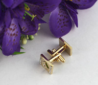 Wholesale 1 Set Gold Plate Retangle Rhinestone Cufflinks