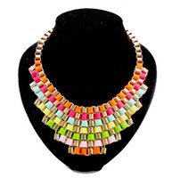 Wholesale Fashion Gold Plated Metal Geometry Necklace Multilayer Color Ribbon Stripe Weave Necklace