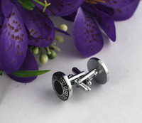 Wholesale 1 Set Black Enamel Celtic Round Cufflinks