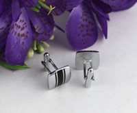 Wholesale 1 Set Black Enamel Striped Square Cufflinks