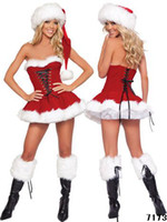 Wholesale Sexy lingerie women santa costume lady christmas suits game uniforms girl Velvet corset underwear