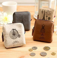 ship mix as photo  Canvas New vintage dream paris Portable Wallet key holder fabric coin bag small Purses Japan Style Gift