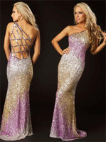 One-Shoulder prom dresses 2012 - 2012 Sexy One Shoulder Prom Dresses Mermaid Peach Backless Summer Beach Beaded Evening Dresses T